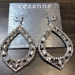 Cezanne Sparkling, Silver and Rhinestone Earrings